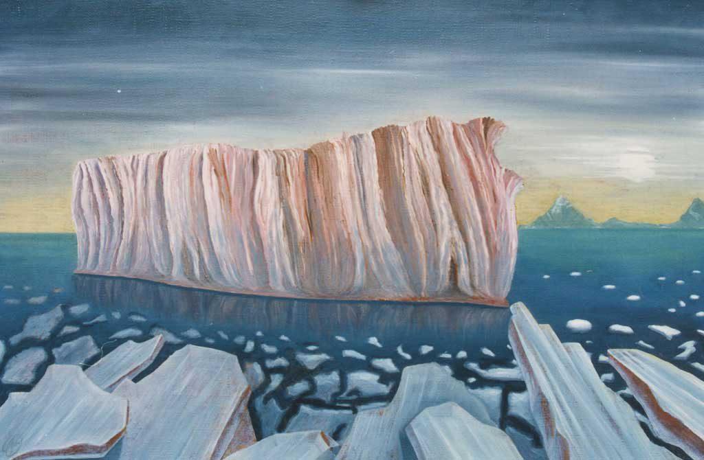 Мясной айсберг у Южно-Оркнейских островов. Октябрь 1984 г., 85х127 см, холст, масло.