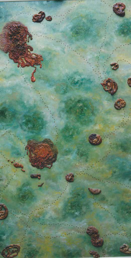 Типография отхожих мест. Июнь 1993 г., 164х91 см, холст, масло, рельефная паста.