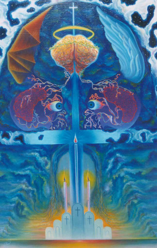 Исихастическая теургия эзотеризма. Июль 1989 г., 126х82,5 см, холст, масло.